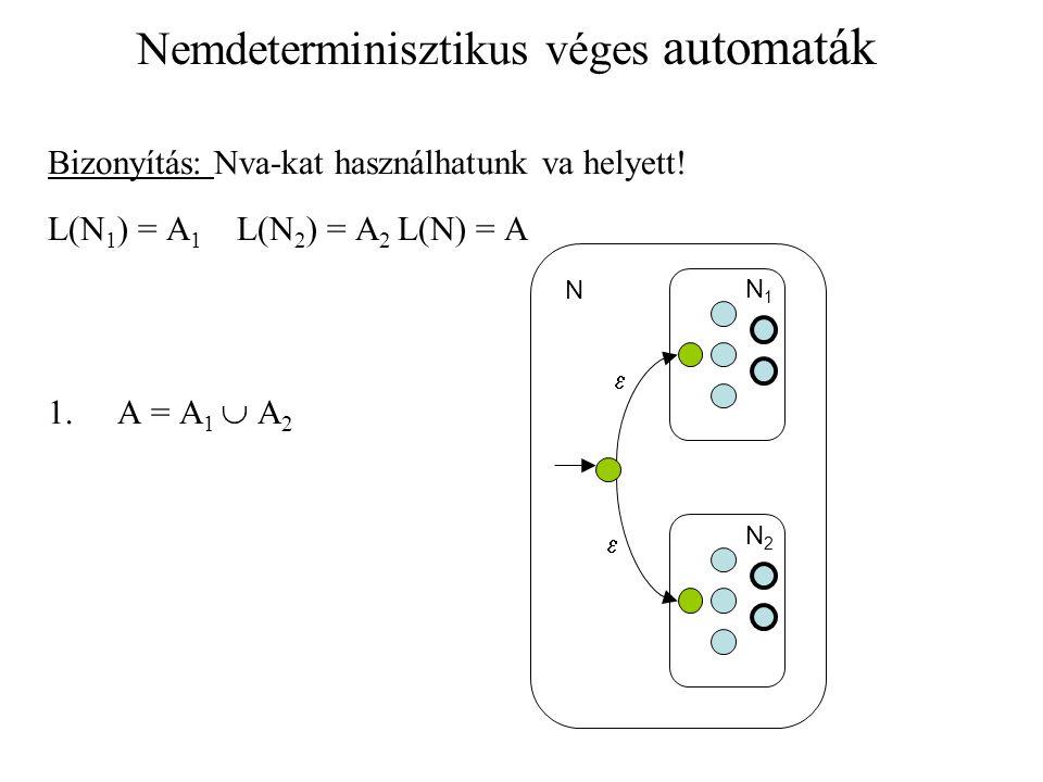 Nemdeterminisztikus véges automaták Bizonyítás: Nva-kat használhatunk va helyett! L(N 1 ) = A 1 L(N 2 ) = A 2 L(N) = A 1.A = A 1  A 2 N1N1 N2N2   N