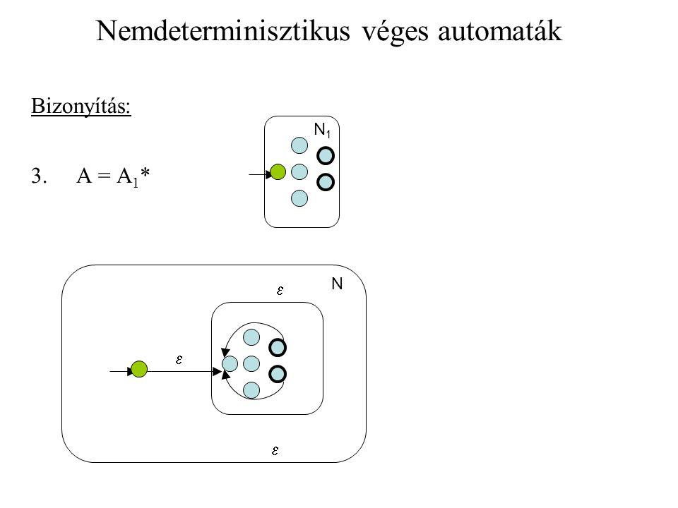 Nemdeterminisztikus véges automaták Bizonyítás: 3. A = A 1 *   N1N1 N 