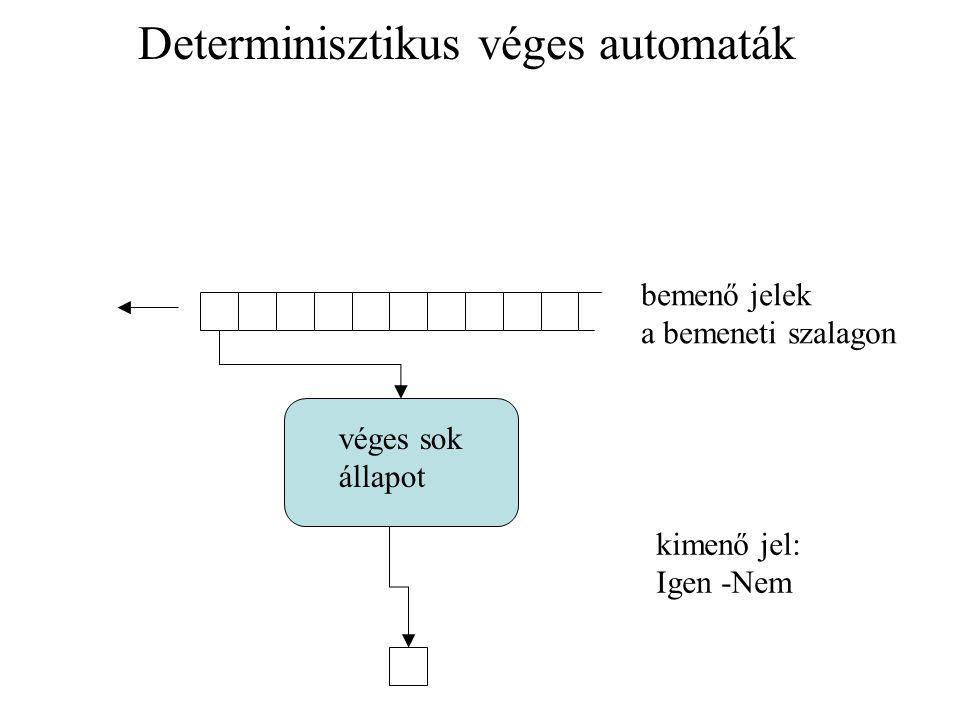 Determinisztikus véges automaták bemenő jelek a bemeneti szalagon véges sok állapot kimenő jel: Igen -Nem