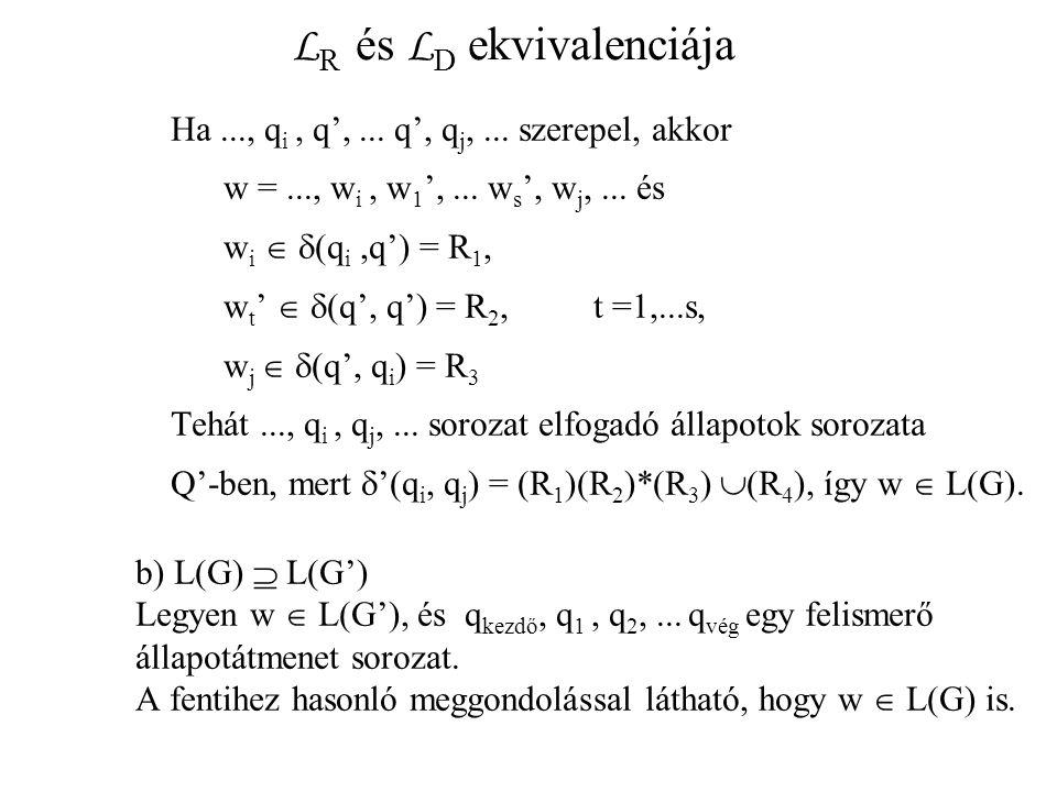 L R és L D ekvivalenciája Ha..., q i, q',... q', q j,... szerepel, akkor w =..., w i, w 1 ',... w s ', w j,... és w i   (q i,q') = R 1, w t '   (q