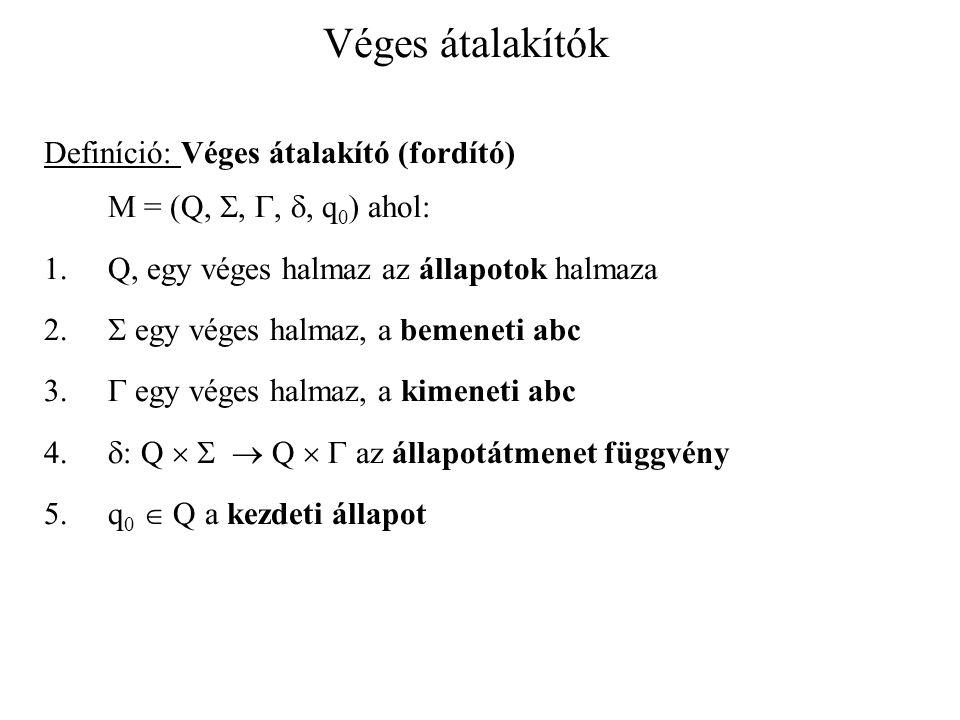 Véges átalakítók Definíció: Véges átalakító (fordító) M = (Q, , , , q 0 ) ahol: 1.Q, egy véges halmaz az állapotok halmaza 2.  egy véges halmaz, a