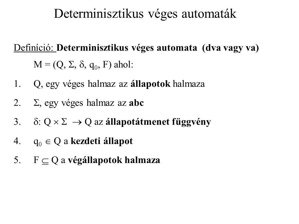 Determinisztikus véges automaták Definíció: Determinisztikus véges automata (dva vagy va) M = (Q, , , q 0, F) ahol: 1.Q, egy véges halmaz az állapotok halmaza 2.