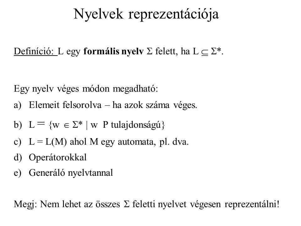 Nyelvek reprezentációja Definíció: L egy formális nyelv  felett, ha L   *. Egy nyelv véges módon megadható: a)Elemeit felsorolva – ha azok száma vé
