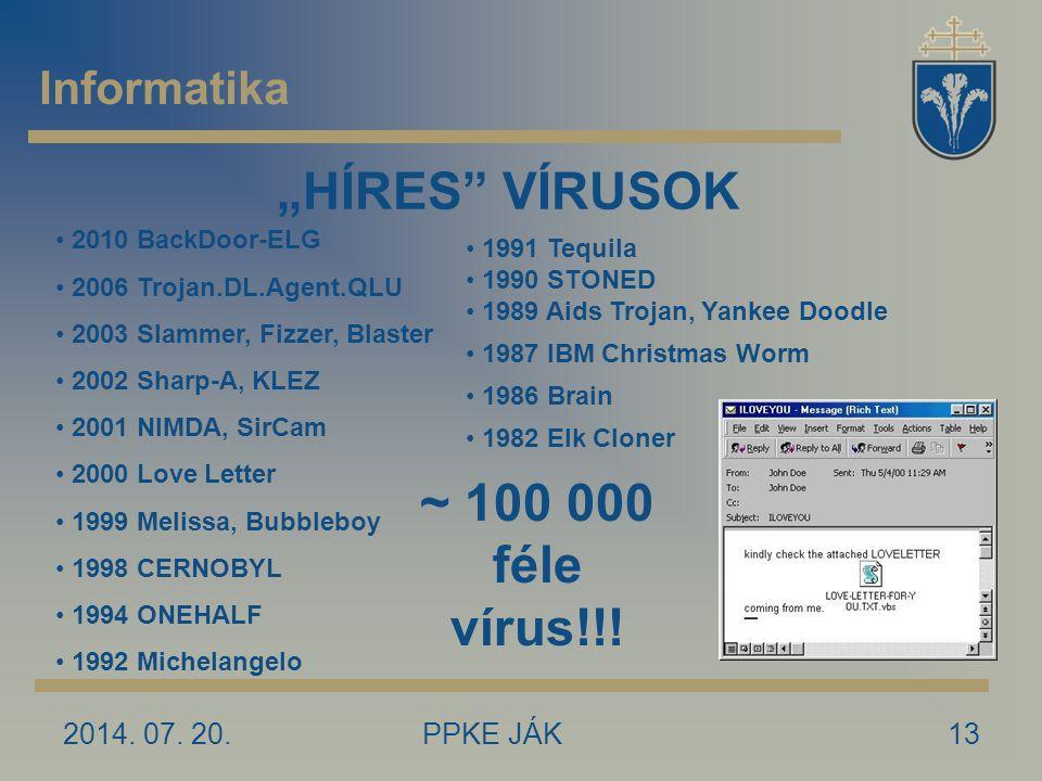 """2014. 07. 20.PPKE JÁK13 Informatika """"HÍRES"""" VÍRUSOK 2010 BackDoor-ELG 2006 Trojan.DL.Agent.QLU 2003 Slammer, Fizzer, Blaster 2002 Sharp-A, KLEZ 2001 N"""