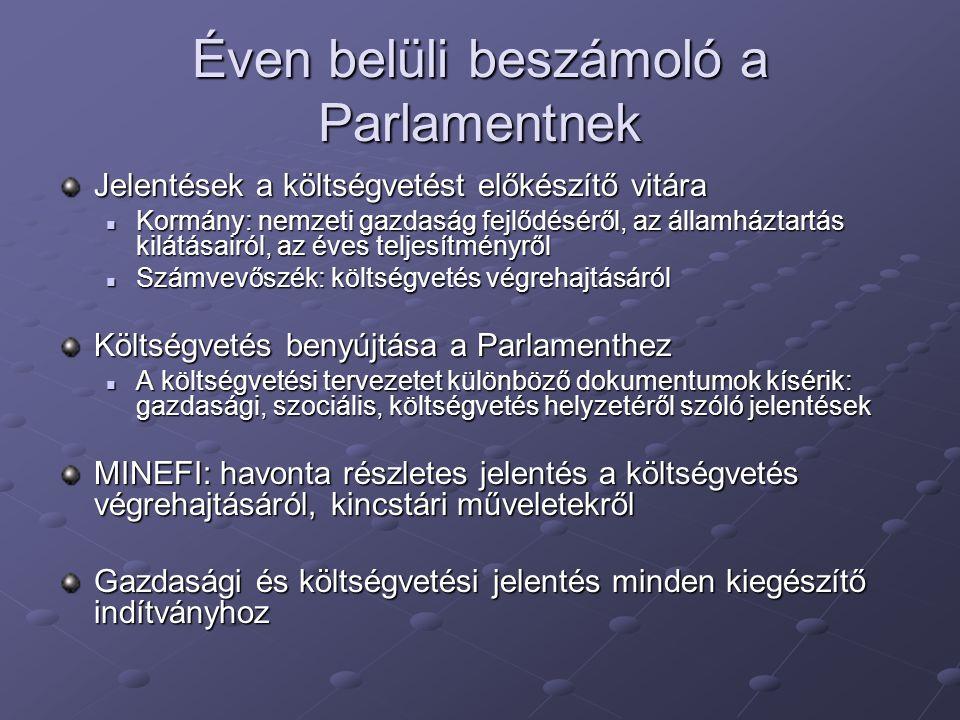 Éven belüli beszámoló a Parlamentnek Jelentések a költségvetést előkészítő vitára Kormány: nemzeti gazdaság fejlődéséről, az államháztartás kilátásair