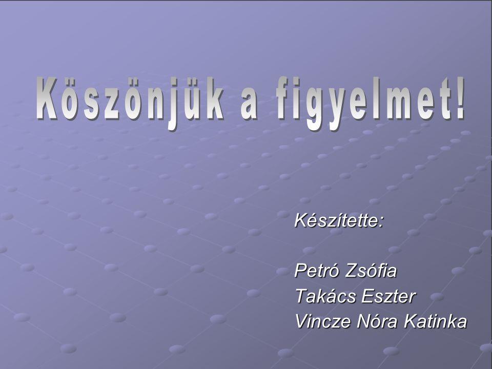 Készítette: Petró Zsófia Takács Eszter Vincze Nóra Katinka