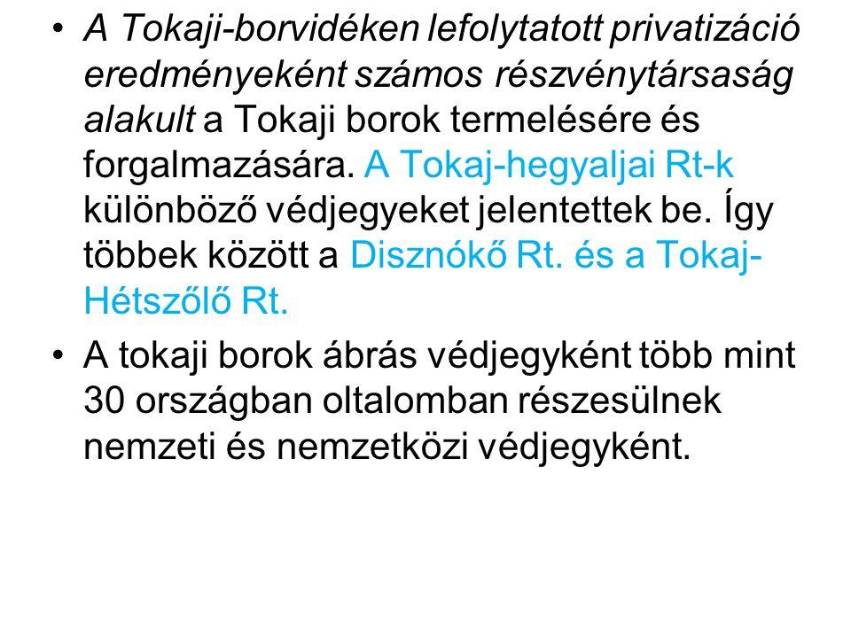 A Tokaji-borvidéken lefolytatott privatizáció eredményeként számos részvénytársaság alakult a Tokaji borok termelésére és forgalmazására.