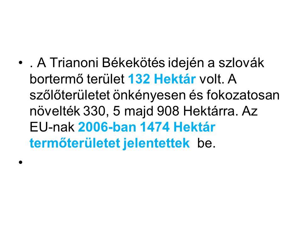 A Trianoni Békekötés idején a szlovák bortermő terület 132 Hektár volt.