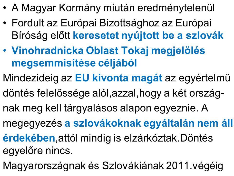 A Magyar Kormány miután eredménytelenül Fordult az Európai Bizottsághoz az Európai Bíróság előtt keresetet nyújtott be a szlovák Vinohradnicka Oblast Tokaj megjelölés megsemmisítése céljából Mindezideig az EU kivonta magát az egyértelmű döntés felelőssége alól,azzal,hogy a két ország- nak meg kell tárgyalásos alapon egyeznie.