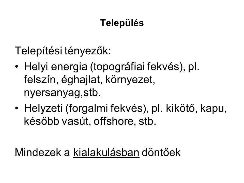 Település Telepítési tényezők: Helyi energia (topográfiai fekvés), pl. felszín, éghajlat, környezet, nyersanyag,stb. Helyzeti (forgalmi fekvés), pl. k