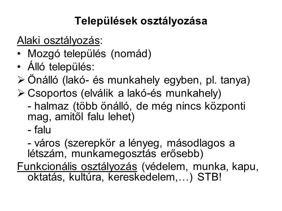 Települések osztályozása Alaki osztályozás: Mozgó település (nomád) Álló település:  Önálló (lakó- és munkahely egyben, pl. tanya)  Csoportos (elvál