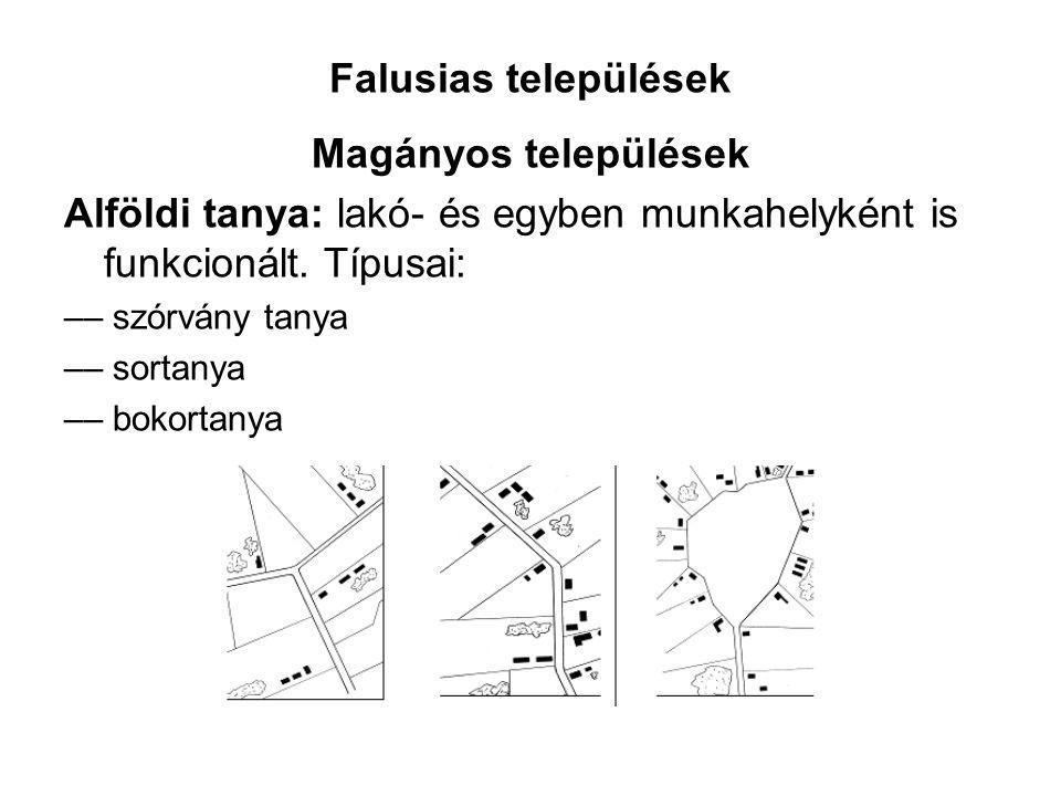 Falusias települések Magányos települések Alföldi tanya: lakó- és egyben munkahelyként is funkcionált. Típusai: –– szórvány tanya –– sortanya –– bokor