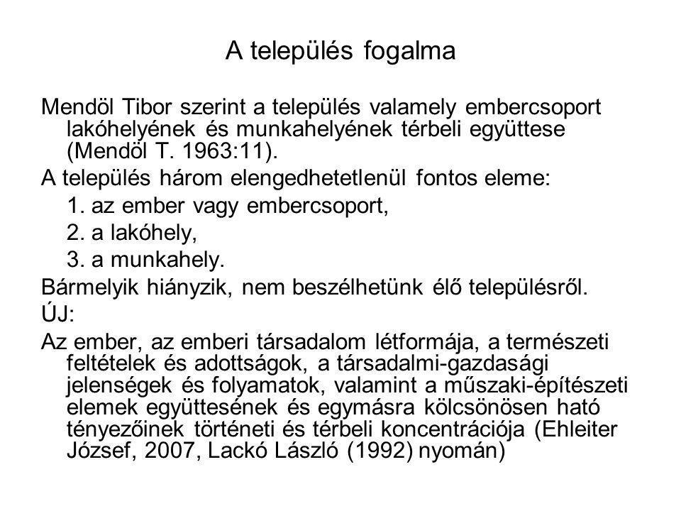 A település fogalma Mendöl Tibor szerint a település valamely embercsoport lakóhelyének és munkahelyének térbeli együttese (Mendöl T. 1963:11). A tele