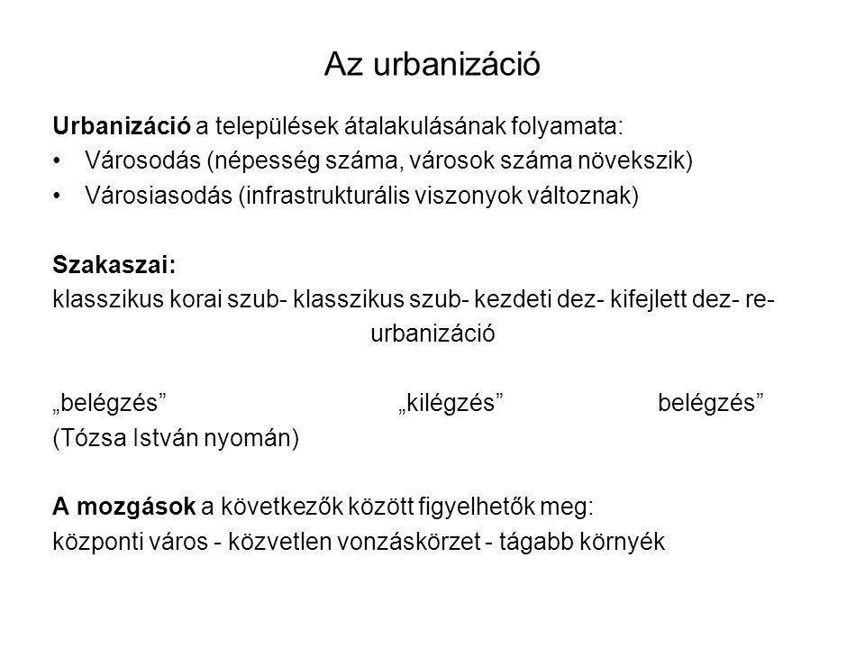 Az urbanizáció Urbanizáció a települések átalakulásának folyamata: Városodás (népesség száma, városok száma növekszik) Városiasodás (infrastrukturális