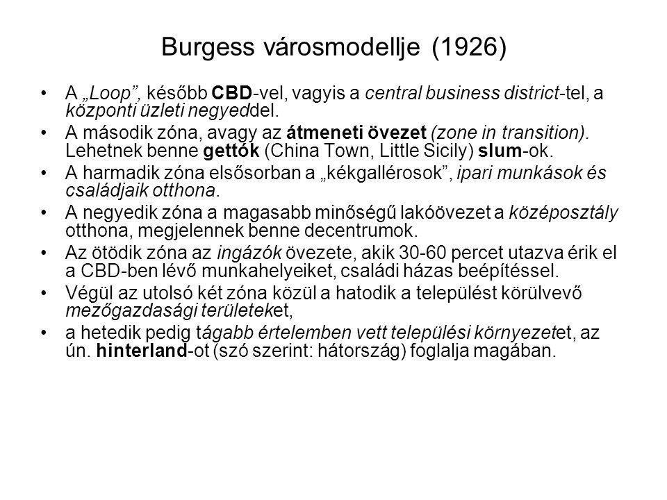 """Burgess városmodellje (1926) A """"Loop"""", később CBD-vel, vagyis a central business district-tel, a központi üzleti negyeddel. A második zóna, avagy az á"""