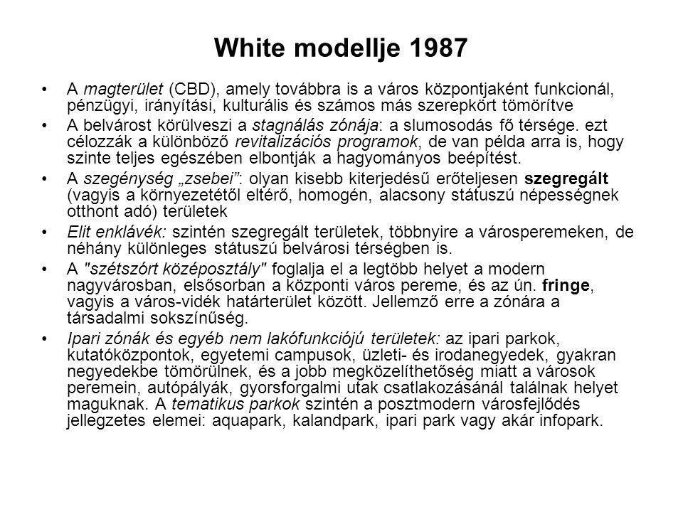 White modellje 1987 A magterület (CBD), amely továbbra is a város központjaként funkcionál, pénzügyi, irányítási, kulturális és számos más szerepkört