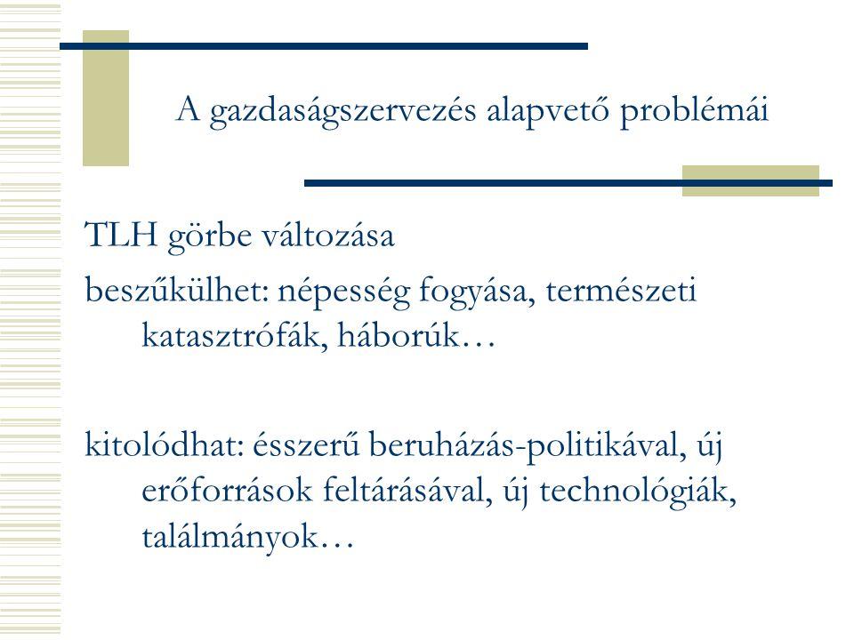 A gazdaságszervezés alapvető problémái TLH görbe változása beszűkülhet: népesség fogyása, természeti katasztrófák, háborúk… kitolódhat: ésszerű beruházás-politikával, új erőforrások feltárásával, új technológiák, találmányok…