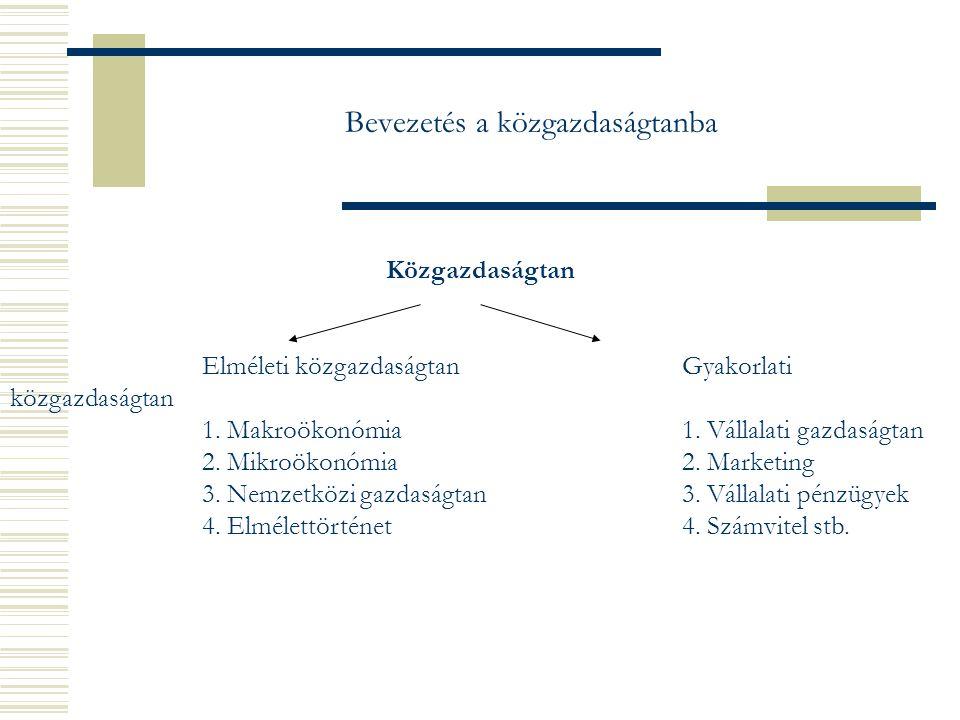 Bevezetés a közgazdaságtanba Közgazdaságtan Elméleti közgazdaságtanGyakorlati közgazdaságtan 1.