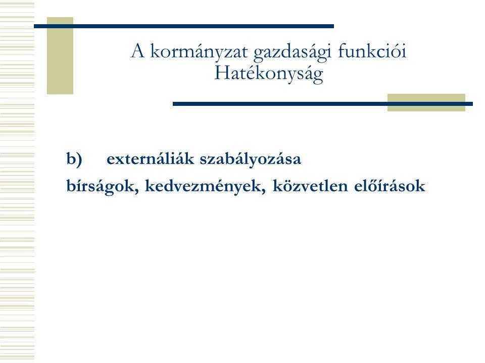 A kormányzat gazdasági funkciói Hatékonyság b) externáliák szabályozása bírságok, kedvezmények, közvetlen előírások