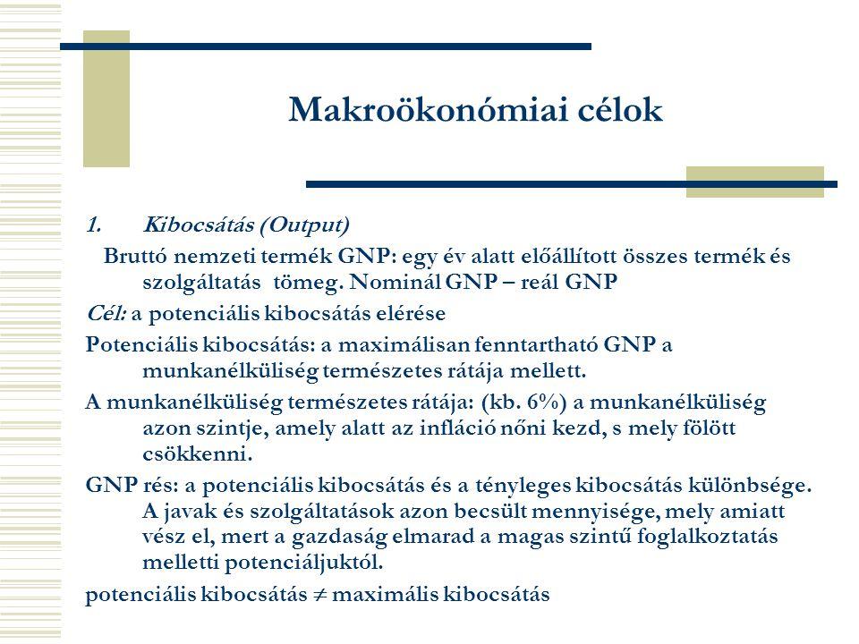 1.Kibocsátás (Output) Bruttó nemzeti termék GNP: egy év alatt előállított összes termék és szolgáltatás tömeg.