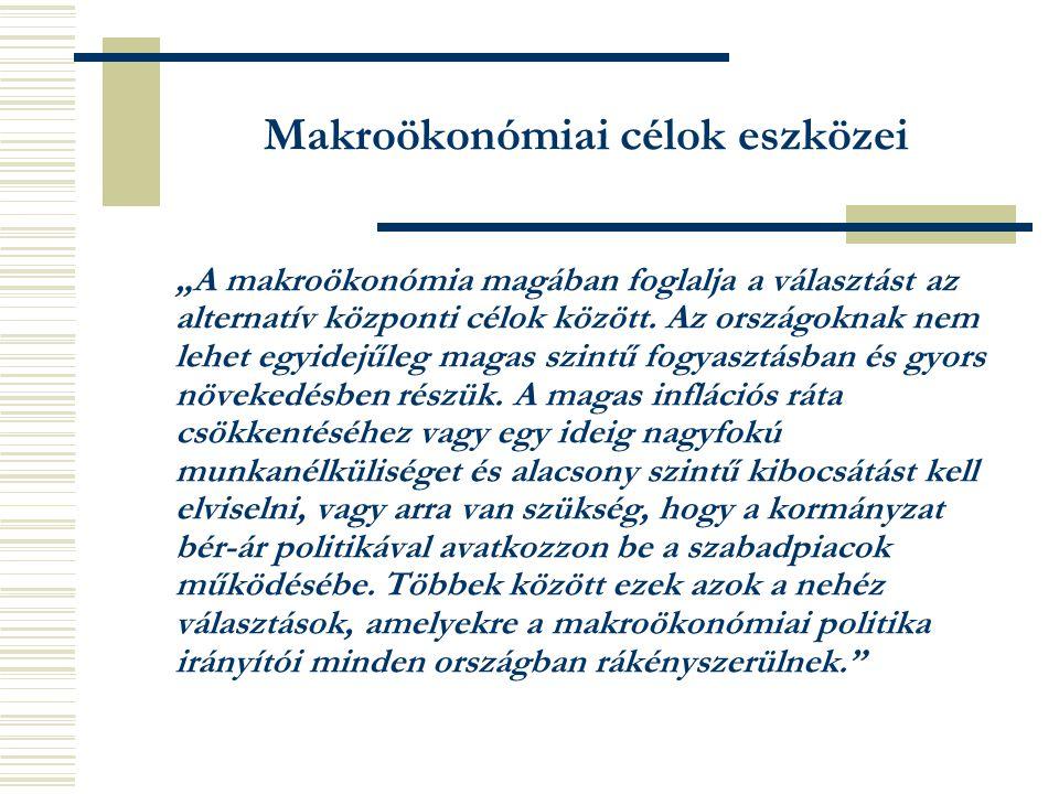 """Makroökonómiai célok eszközei """"A makroökonómia magában foglalja a választást az alternatív központi célok között."""