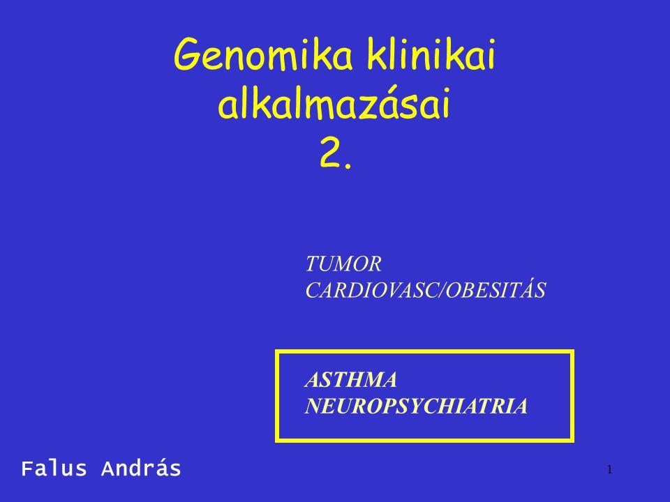 1 Genomika klinikai alkalmazásai 2. Falus András TUMOR CARDIOVASC/OBESITÁS ASTHMA NEUROPSYCHIATRIA
