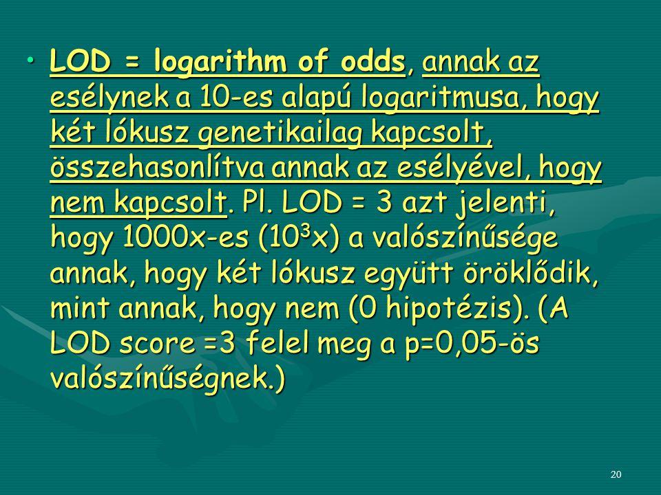 20 LOD = logarithm of odds, annak az esélynek a 10-es alapú logaritmusa, hogy két lókusz genetikailag kapcsolt, összehasonlítva annak az esélyével, ho