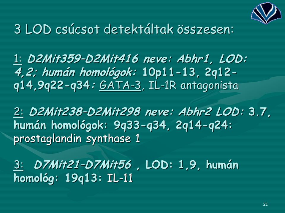 21 3 LOD csúcsot detektáltak összesen: 1: D2Mit359–D2Mit416 neve: Abhr1, LOD: 4,2; humán homológok: 10p11-13, 2q12- q14,9q22-q34: GATA-3, IL-1R antago