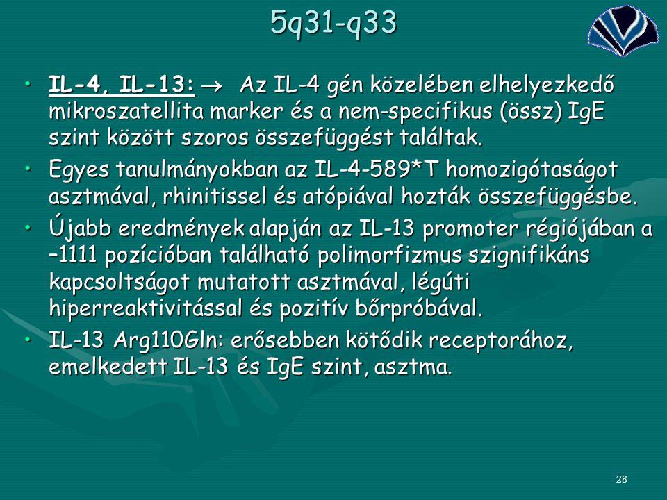 285q31-q33 IL-4, IL-13:  Az IL-4 gén közelében elhelyezkedő mikroszatellita marker és a nem-specifikus (össz) IgE szint között szoros összefüggést ta