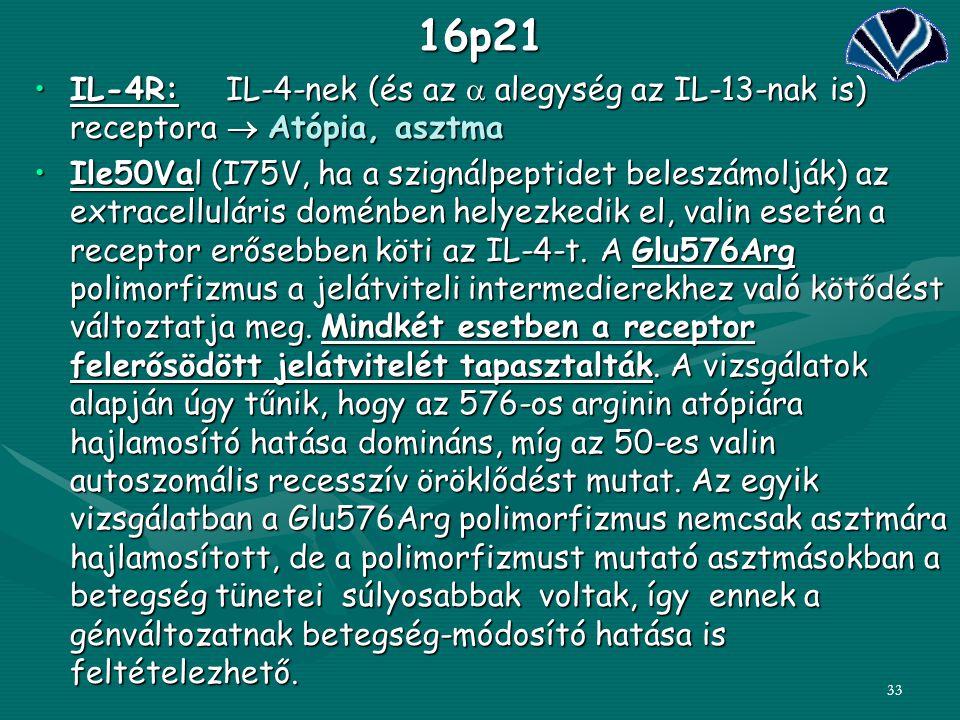 3316p21 IL-4R:IL-4-nek (és az  alegység az IL-13-nak is) receptora  Atópia, asztmaIL-4R:IL-4-nek (és az  alegység az IL-13-nak is) receptora  Atóp