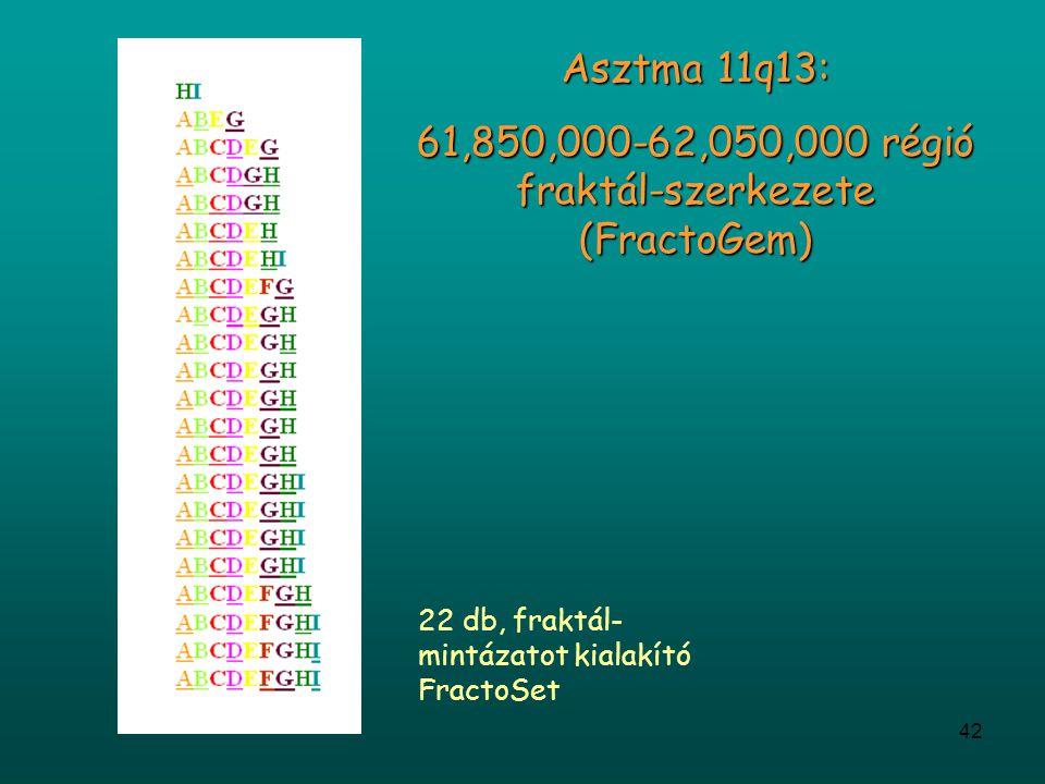 42 Asztma 11q13: 61,850,000-62,050,000 régió fraktál-szerkezete (FractoGem) 22 db, fraktál- mintázatot kialakító FractoSet