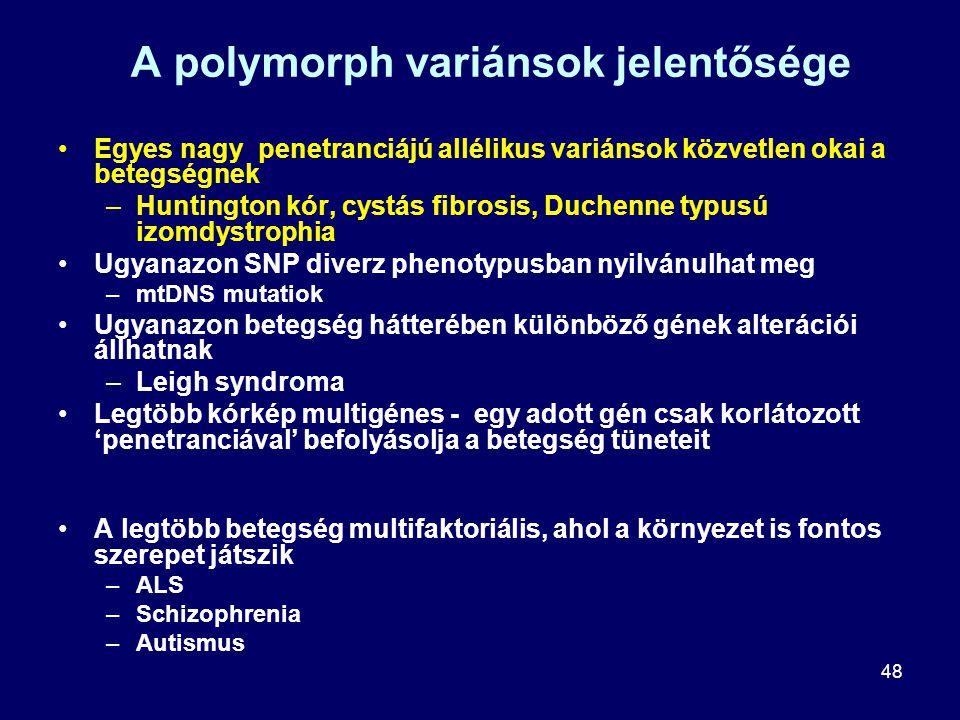 48 A polymorph variánsok jelentősége Egyes nagy penetranciájú allélikus variánsok közvetlen okai a betegségnek –Huntington kór, cystás fibrosis, Duche