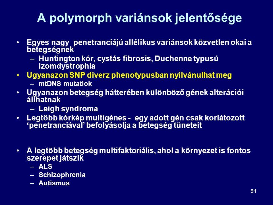 51 A polymorph variánsok jelentősége Egyes nagy penetranciájú allélikus variánsok közvetlen okai a betegségnek –Huntington kór, cystás fibrosis, Duche