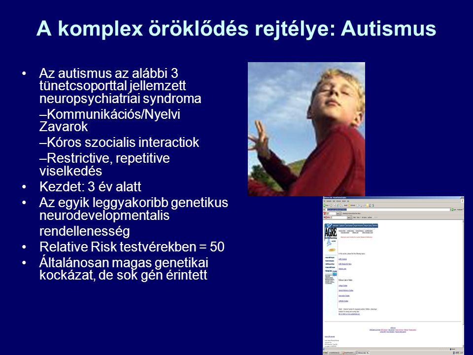 69 A komplex öröklődés rejtélye: Autismus Az autismus az alábbi 3 tünetcsoporttal jellemzett neuropsychiatriai syndroma –Kommunikációs/Nyelvi Zavarok