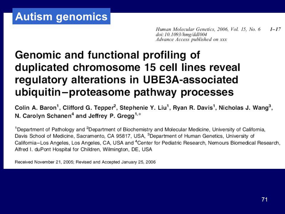 71 Autism genomics