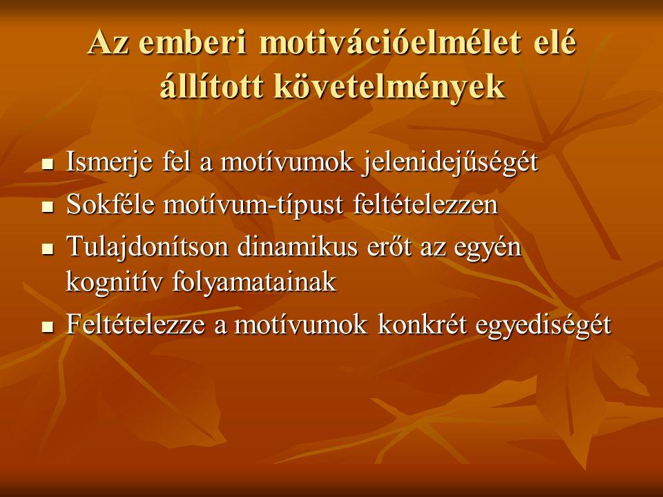 Az emberi motivációelmélet elé állított követelmények Ismerje fel a motívumok jelenidejűségét Ismerje fel a motívumok jelenidejűségét Sokféle motívum-