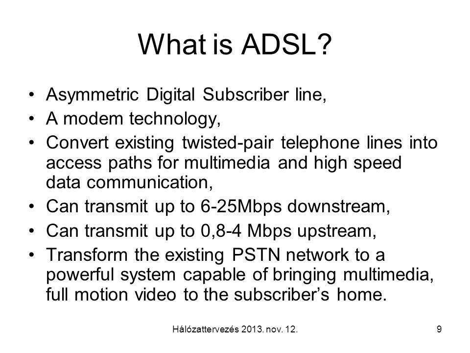 Hálózattervezés 2013.nov. 12.10 What can we learn from ADSL story.