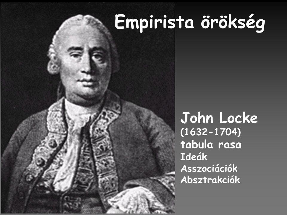 Empirista örökség John Locke (1632-1704) tabula rasa Ideák Asszociációk Absztrakciók