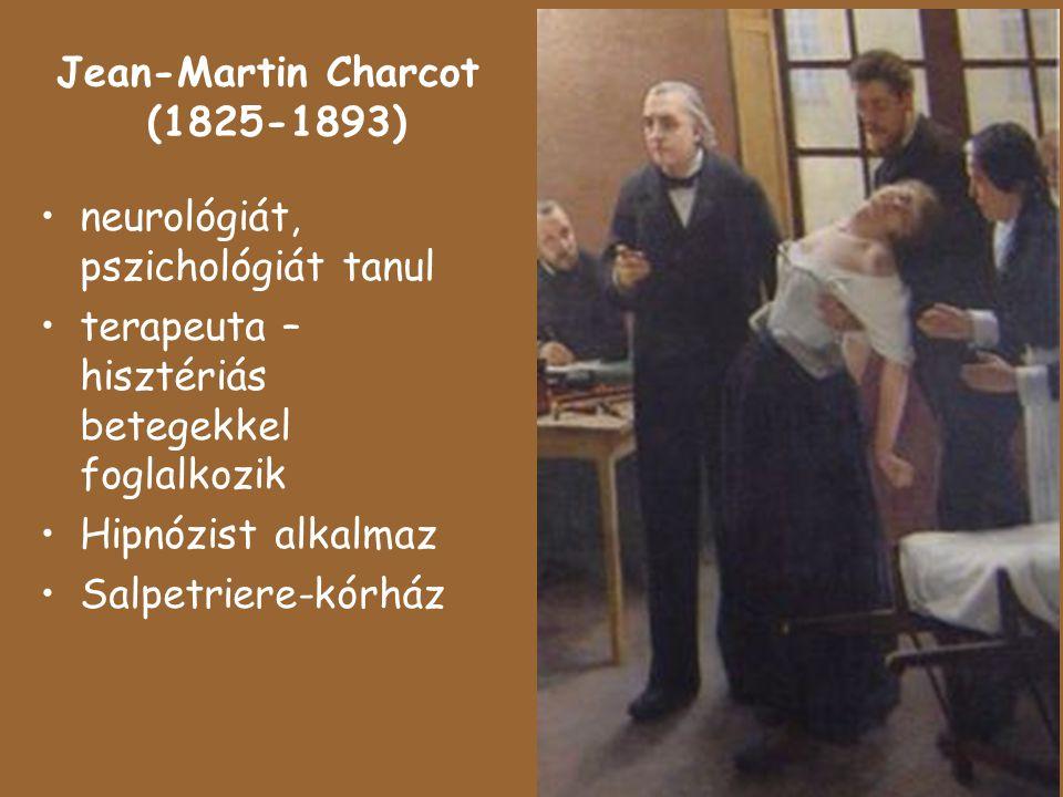 Jean-Martin Charcot (1825-1893) neurológiát, pszichológiát tanul terapeuta – hisztériás betegekkel foglalkozik Hipnózist alkalmaz Salpetriere-kórház
