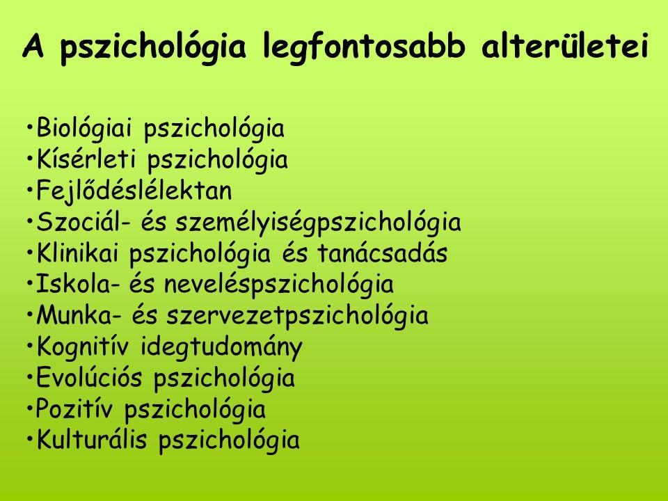 A pszichológia legfontosabb alterületei Biológiai pszichológia Kísérleti pszichológia Fejlődéslélektan Szociál- és személyiségpszichológia Klinikai pszichológia és tanácsadás Iskola- és neveléspszichológia Munka- és szervezetpszichológia Kognitív idegtudomány Evolúciós pszichológia Pozitív pszichológia Kulturális pszichológia