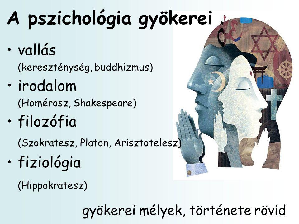 A pszichológia gyökerei vallás (kereszténység, buddhizmus) irodalom (Homérosz, Shakespeare) filozófia (Szokratesz, Platon, Arisztotelesz) fiziológia (Hippokratesz) gyökerei mélyek, története rövid