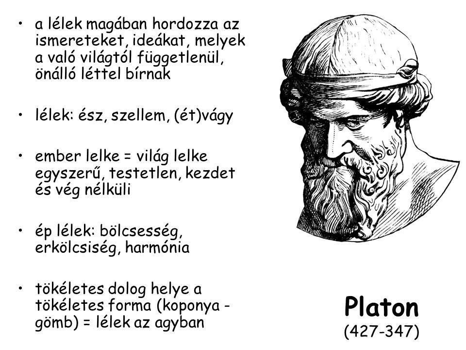Platon (427-347) a lélek magában hordozza az ismereteket, ideákat, melyek a való világtól függetlenül, önálló léttel bírnak lélek: ész, szellem, (ét)vágy ember lelke = világ lelke egyszerű, testetlen, kezdet és vég nélküli ép lélek: bölcsesség, erkölcsiség, harmónia tökéletes dolog helye a tökéletes forma (koponya - gömb) = lélek az agyban