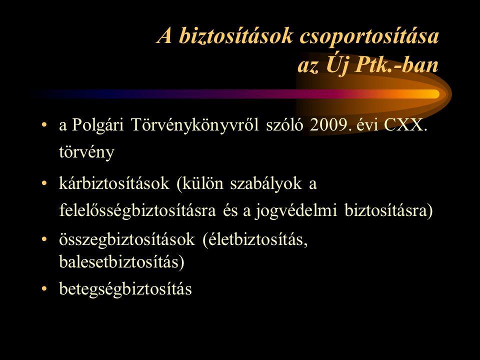 A biztosítások csoportosítása az Új Ptk.-ban a Polgári Törvénykönyvről szóló 2009. évi CXX. törvény kárbiztosítások (külön szabályok a felelősségbizto