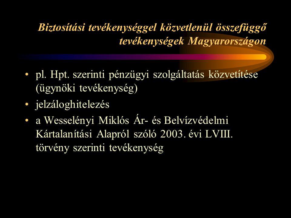 Biztosítási tevékenységgel közvetlenül összefüggő tevékenységek Magyarországon pl. Hpt. szerinti pénzügyi szolgáltatás közvetítése (ügynöki tevékenysé
