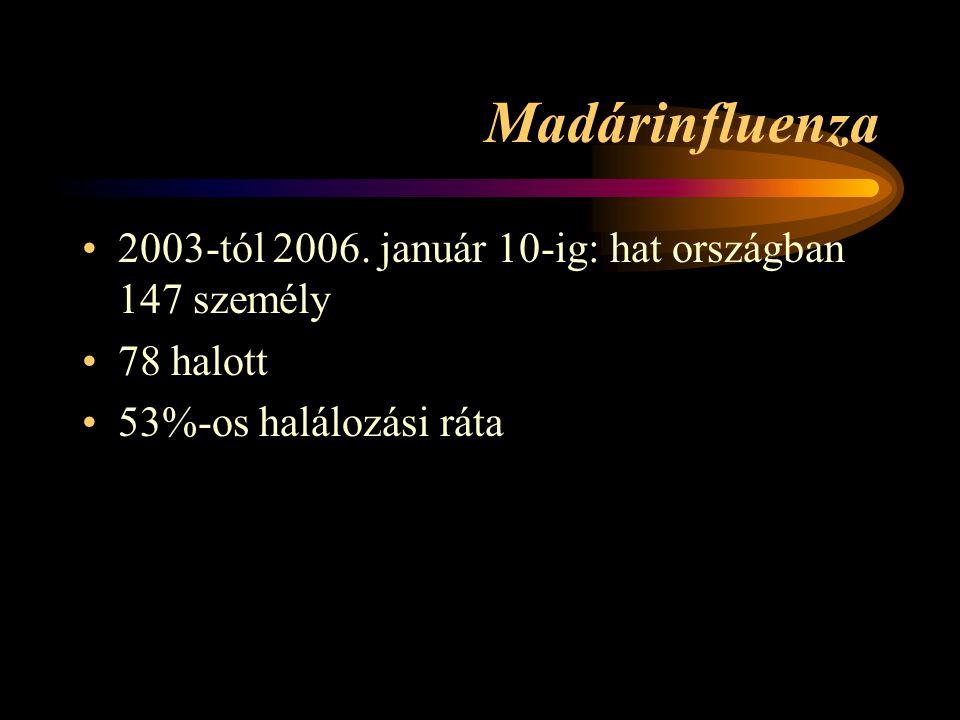 Madárinfluenza 2003-tól 2006. január 10-ig: hat országban 147 személy 78 halott 53%-os halálozási ráta