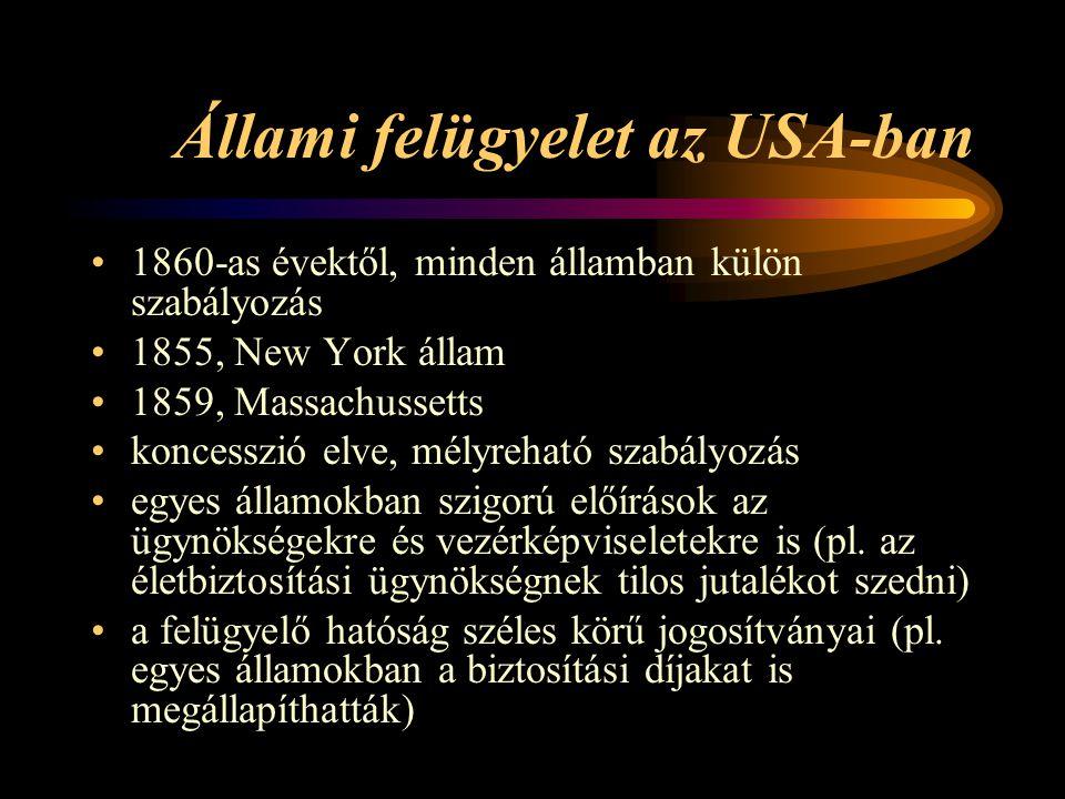 Állami felügyelet az USA-ban 1860-as évektől, minden államban külön szabályozás 1855, New York állam 1859, Massachussetts koncesszió elve, mélyreható