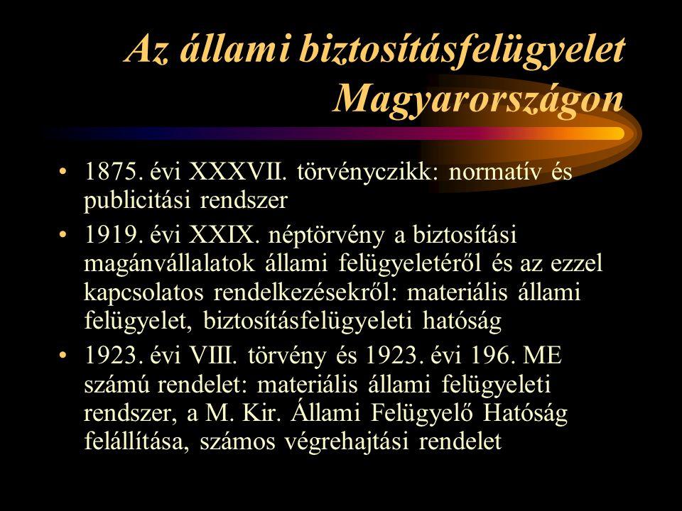 Az állami biztosításfelügyelet Magyarországon 1875. évi XXXVII. törvényczikk: normatív és publicitási rendszer 1919. évi XXIX. néptörvény a biztosítás