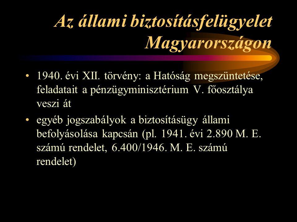 Az állami biztosításfelügyelet Magyarországon 1940. évi XII. törvény: a Hatóság megszüntetése, feladatait a pénzügyminisztérium V. főosztálya veszi át