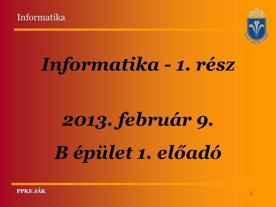 1 Informatika - 1. rész 2013. február 9. B épület 1. előadó PPKE JÁK Informatika