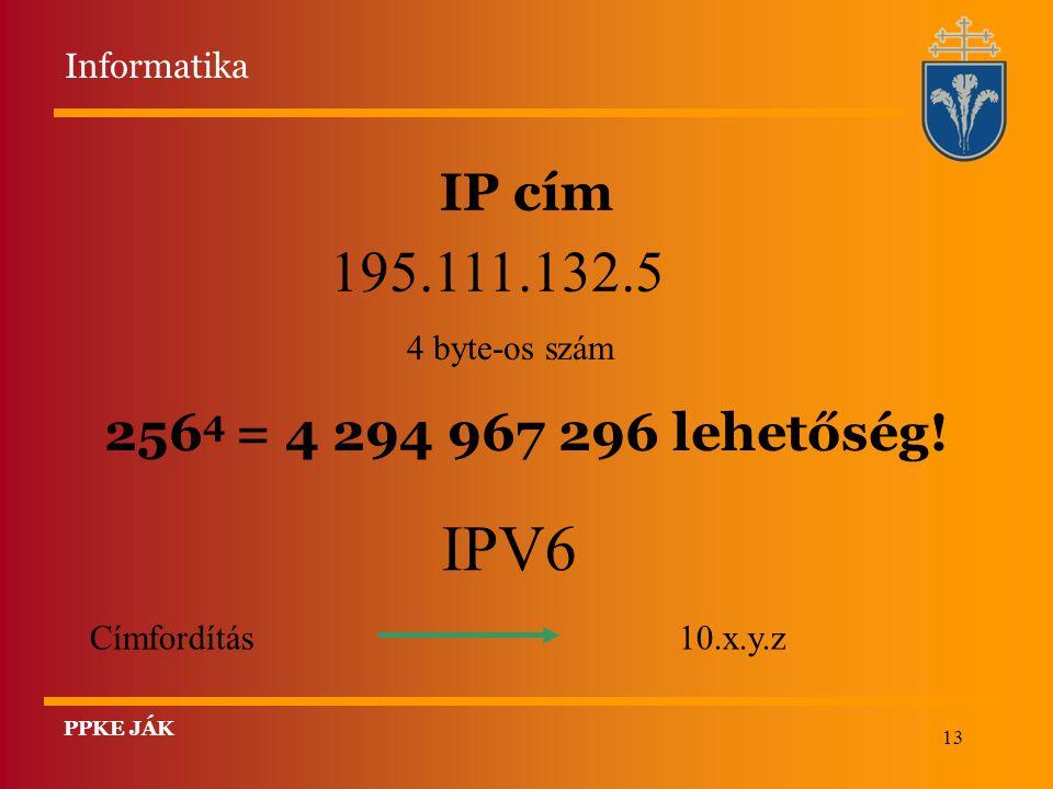 13 IP cím 195.111.132.5 4 byte-os szám IPV6 Címfordítás 10.x.y.z 256 4 = 4 294 967 296 lehetőség! Informatika PPKE JÁK